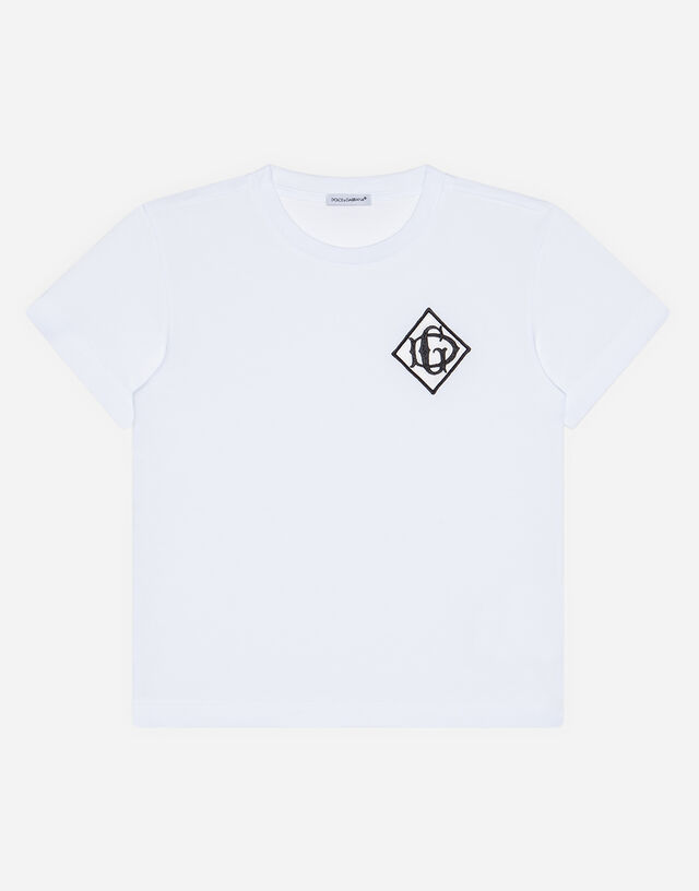 Jersey t-shirt with satin DG detail in White