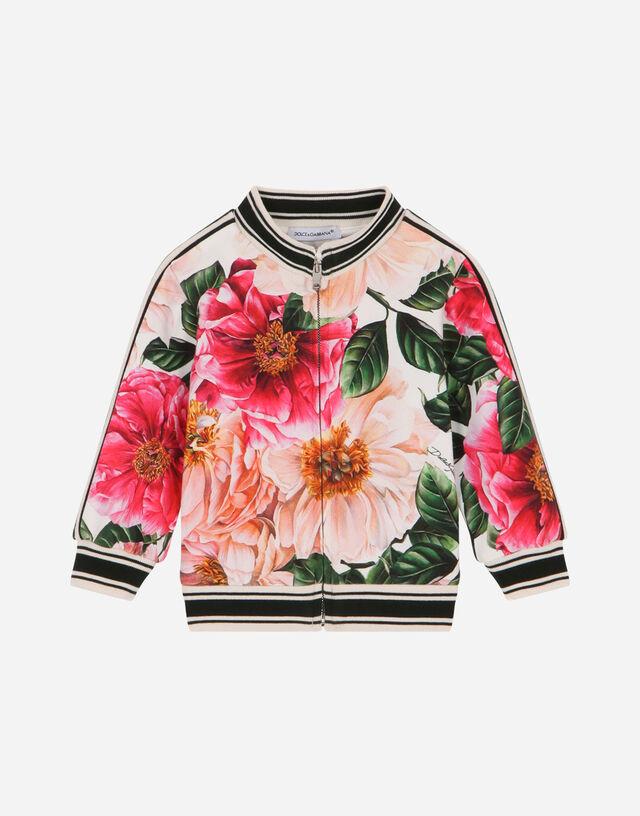 Camellia-print interlock sweatshirt in Multicolor