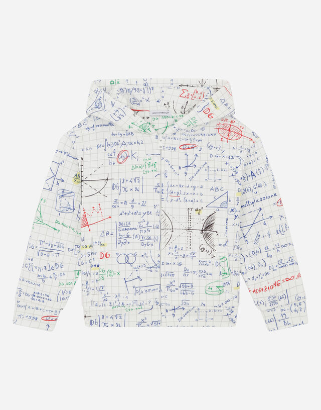 Jersey hoodie with algebra print in Multicolor
