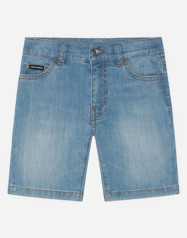 Stretch denim bermuda pants in washed baby blue color in Azure