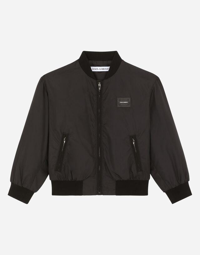 Nylon bomber jacket with logo plate in Black