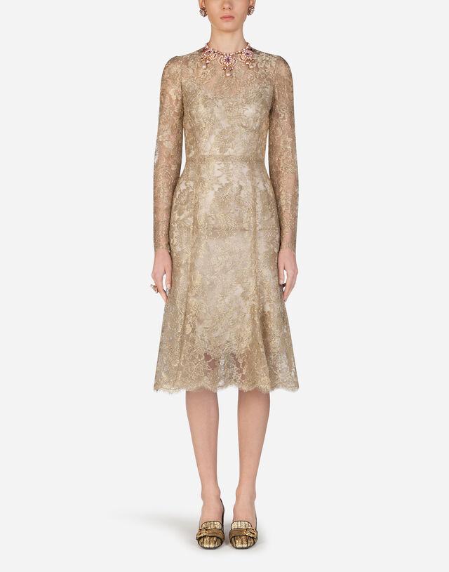 Lamé lace longuette dress in Gold