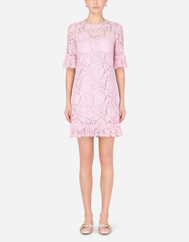Short lace dress with ruching in LILAC
