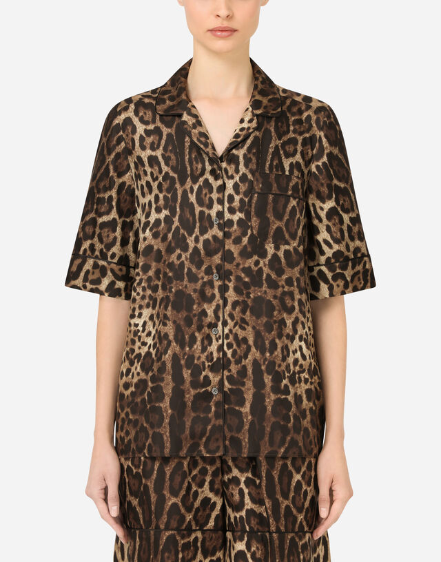 Leopard-print twill shirt with piping in Multicolor