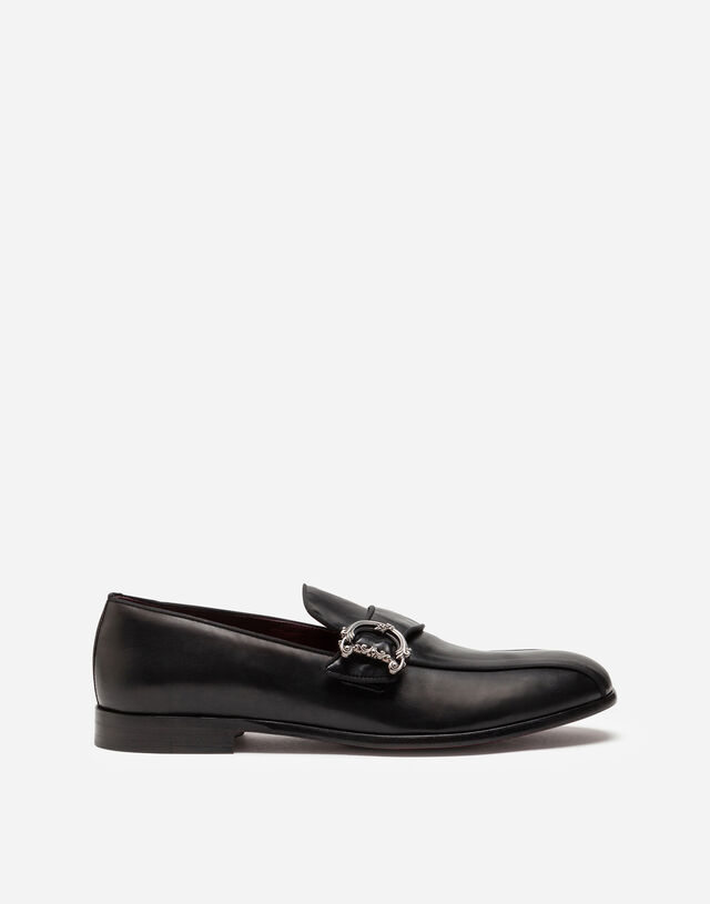 Calfskin loafers with DG logo in BLACK