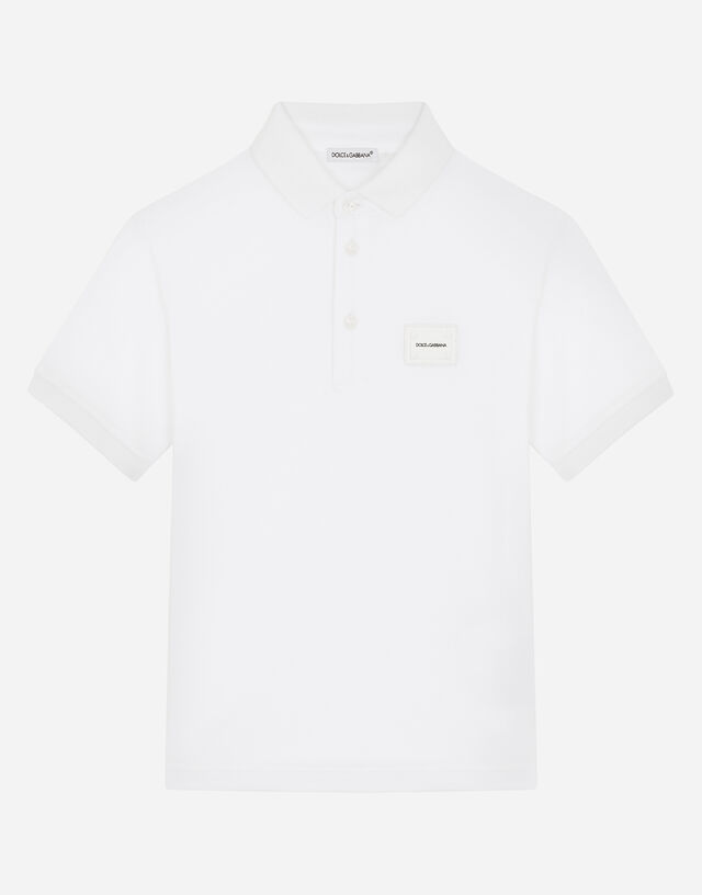 Piqué polo shirt with logo plate in White