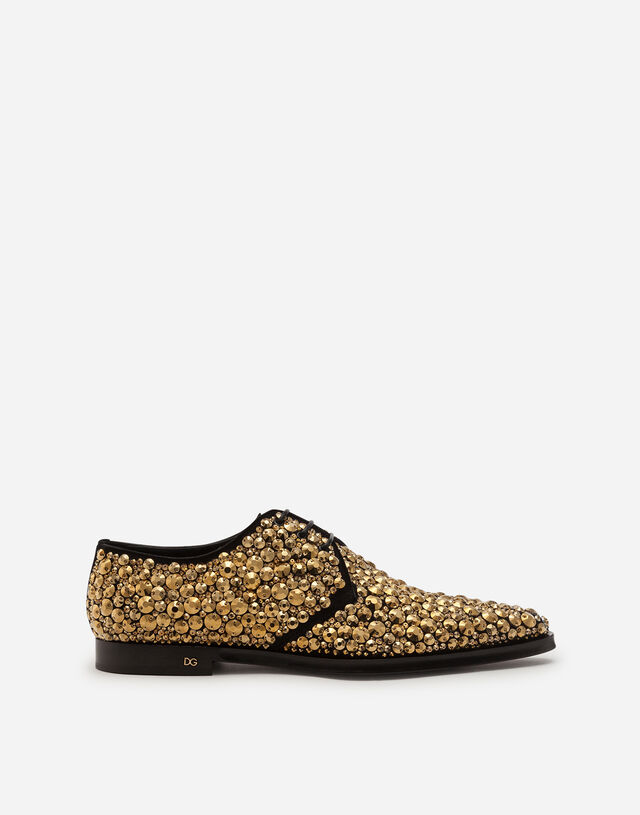 Derby in suede with all around embroidery in BLACK/GOLD
