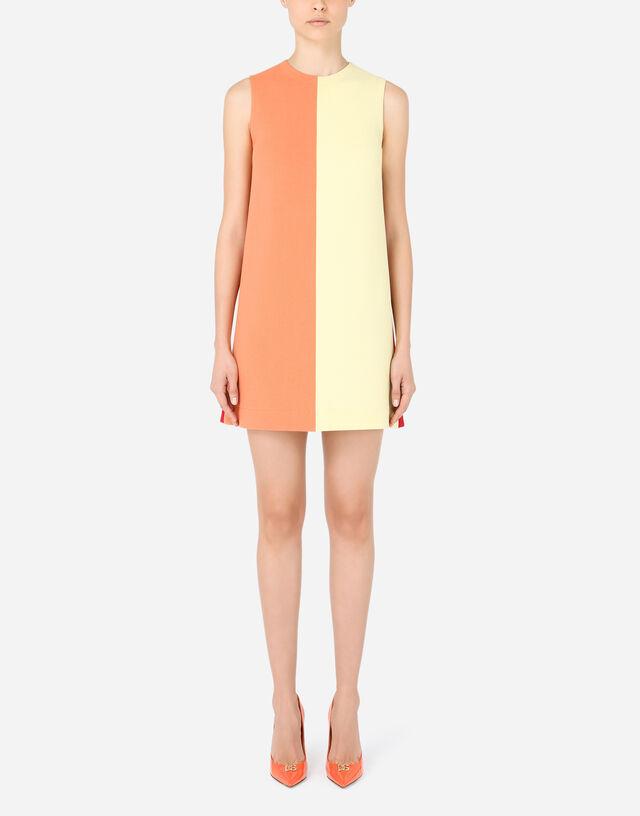 Short multi-colored crepe dress in Multicolor