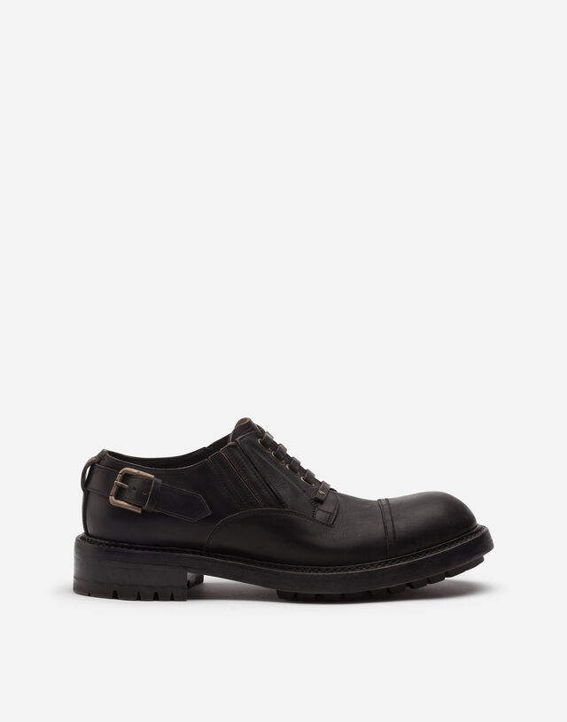Cowhide slip-on derby shoes in BLACK