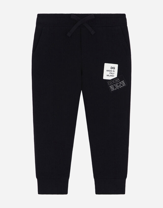 Jersey jogging pants with logo patch in Black