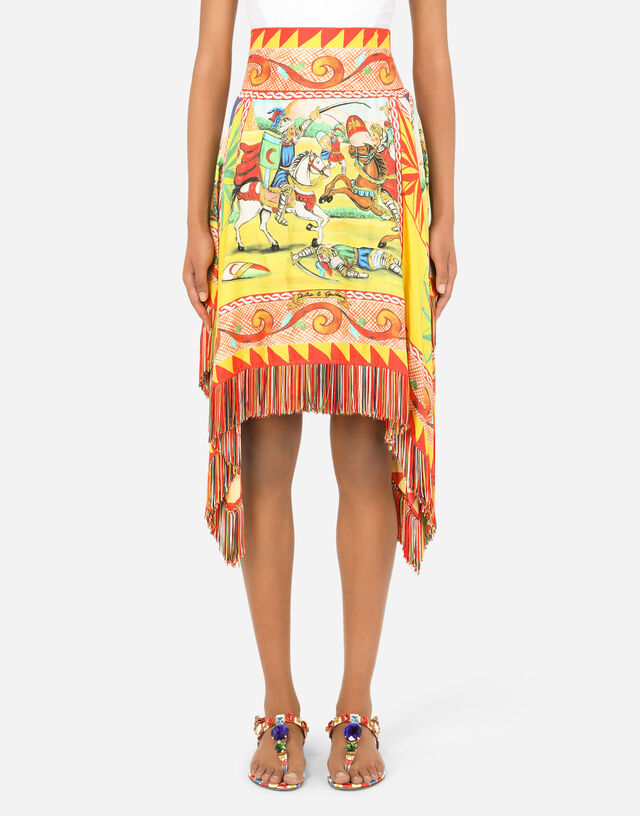 Short Carretto-print twill skirt with fringing in Multicolor