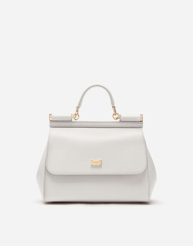 Medium Sicily handbag in dauphine leather in WHITE