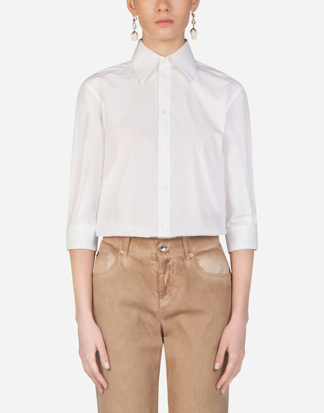 Poplin shirt with mother-of-pearl buttons in WHITE