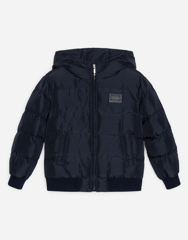 Nylon down jacket with hood and plate in Blue
