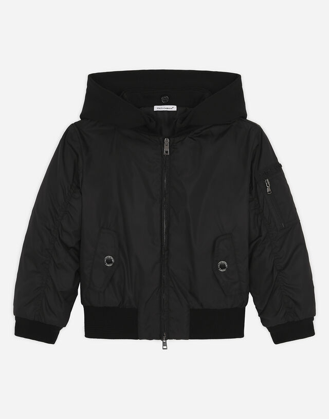 Jersey and nylon bomber jacket with 3d logo in Black