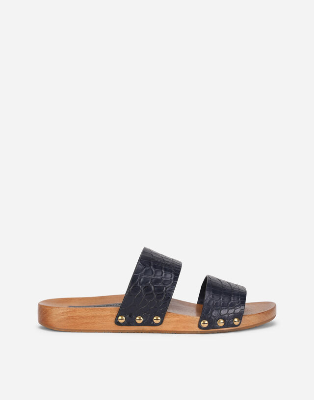 Wood and crocodile flank leather clogs  in Blue