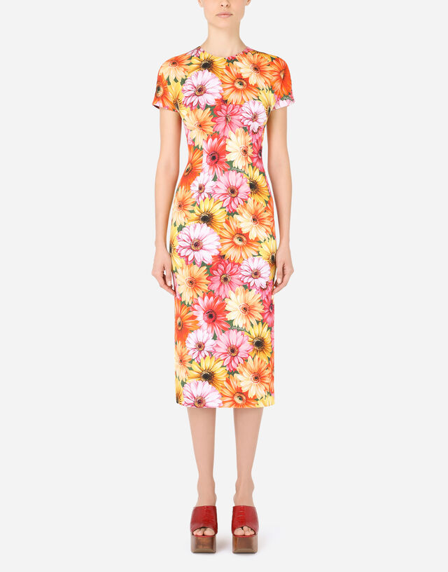 Calf-length charmeuse dress with gerbera-daisy print in Multicolor