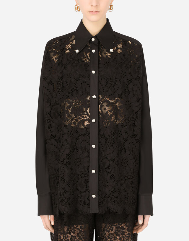 Poplin and lace shirt with DG buttons in Black
