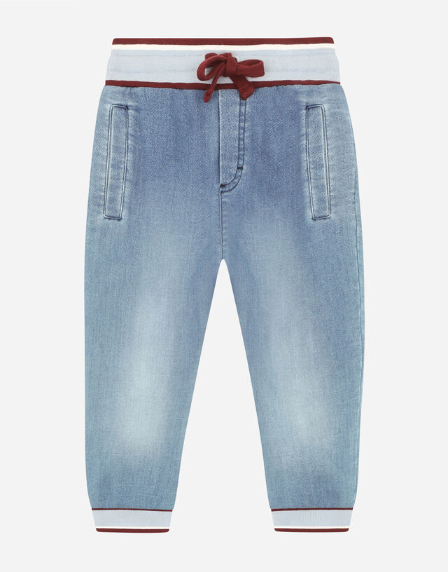 Jersey denim jogging pants in Multicolor