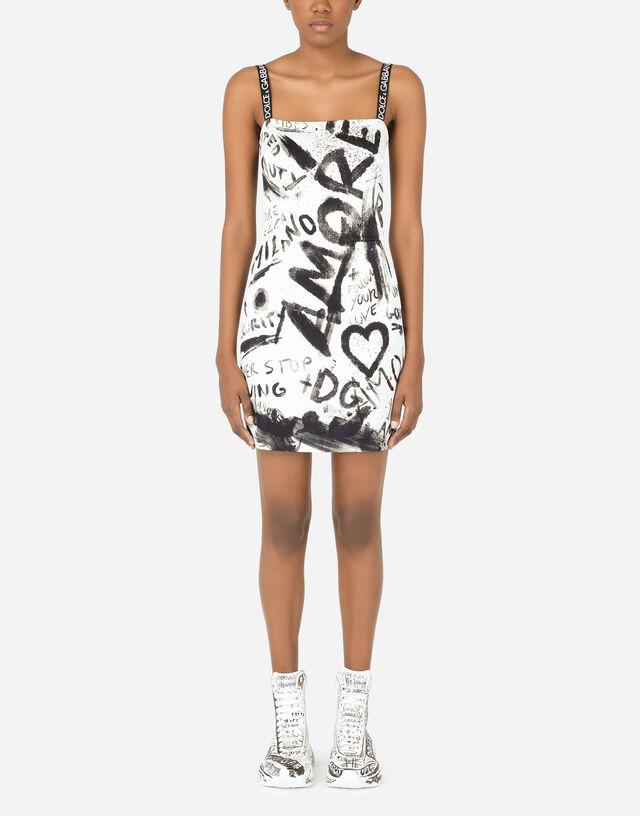 Short charmeuse dress with DG graffiti print in Multicolor