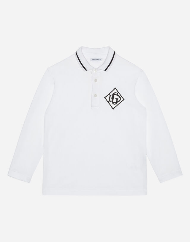 Long-sleeved jersey polo shirt with satin DG detail in White
