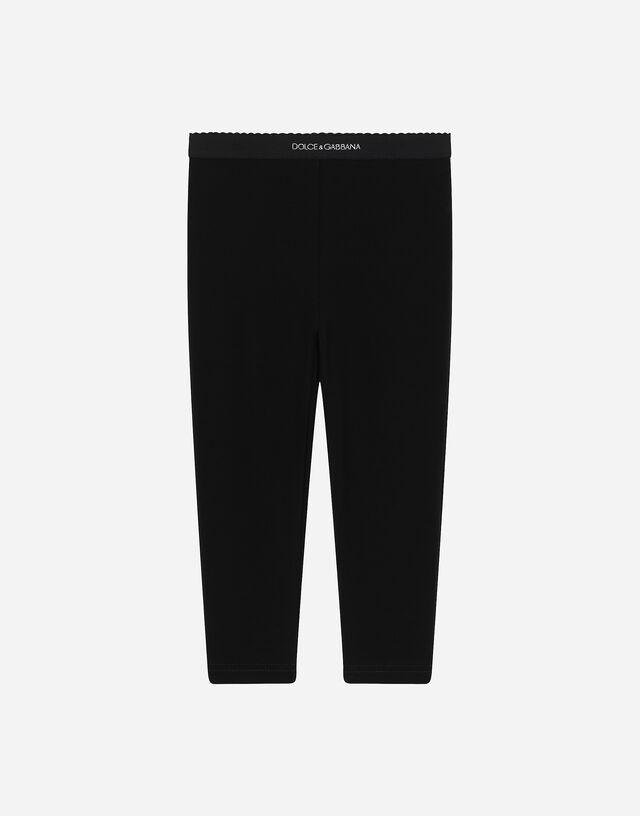 Solid-colour interlock leggings in Black