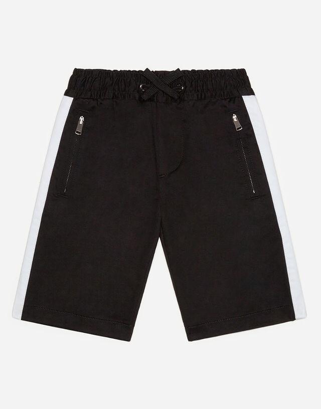 Bermuda shorts in stretch gabardine with drawstring in Black