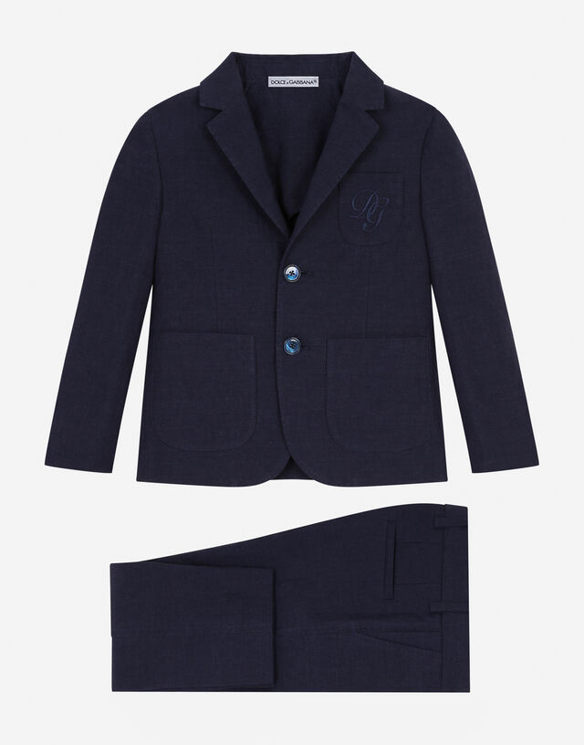Single-breasted linen and cotton suit in Blue