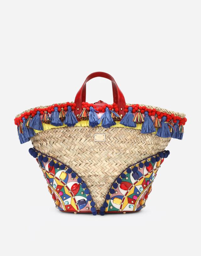 Straw Kendra coffa bag with embroidery in Multicolor