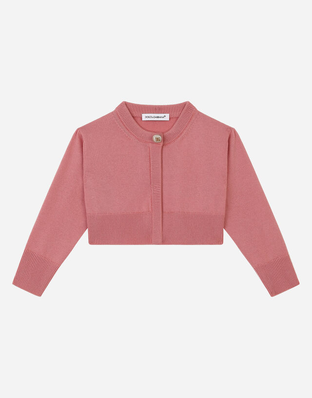 Cotton cardigan with pearl DG button in Pink