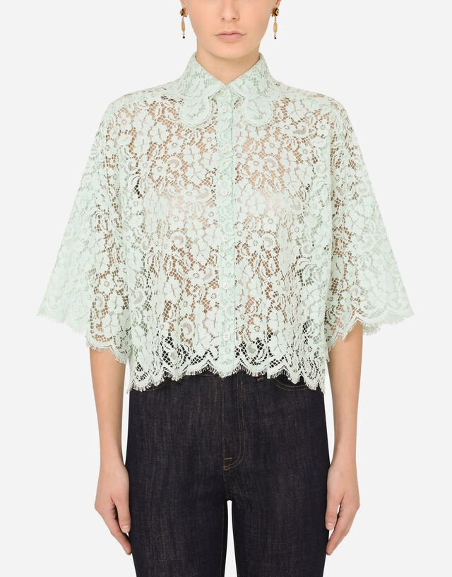 Short lace shirt in GREEN