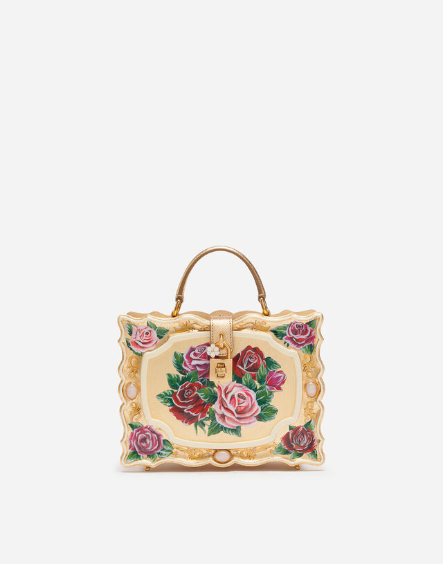 Dolce Box bag in golden hand-painted wood in MULTICOLOR