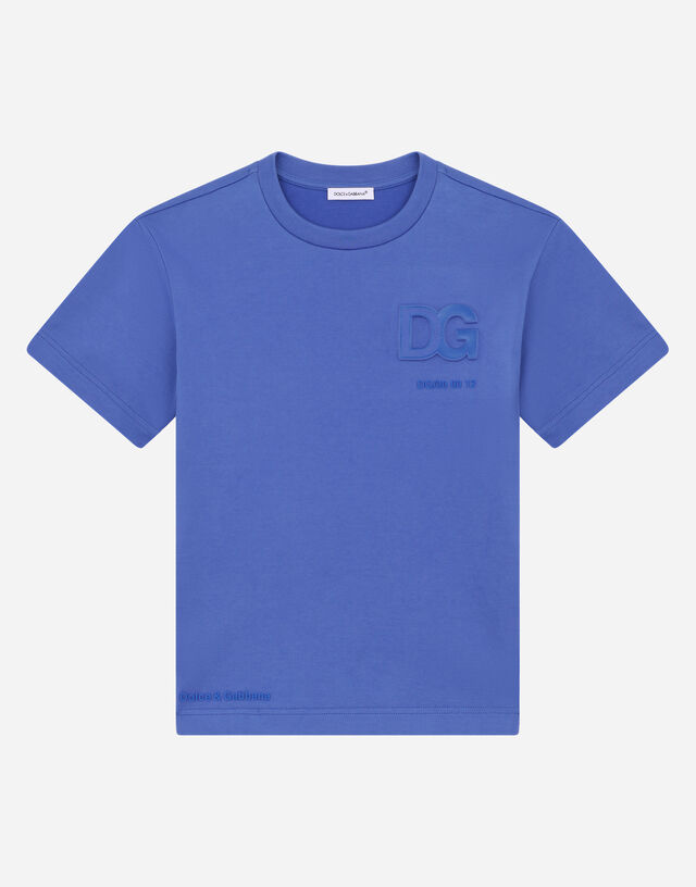 Jersey T-shirt with embossed DG logo in Blue