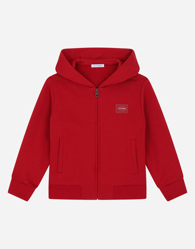 Jersey hoodie with logo tag in Red