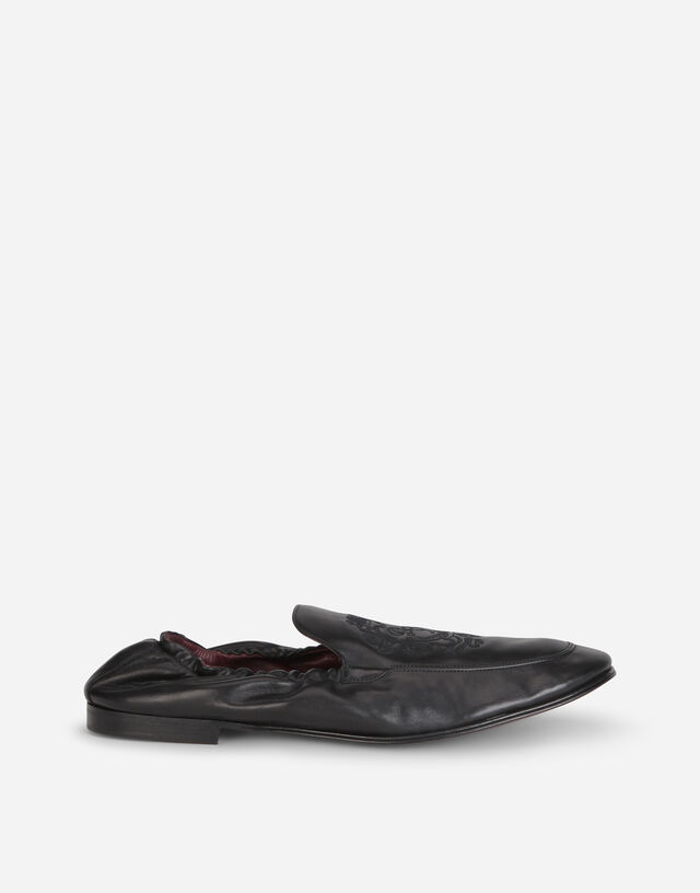 Calfskin loafers with DG coat of arms embroidery in BLACK