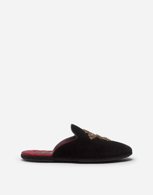 Velvet open-back slippers with cross embroidery in BLACK