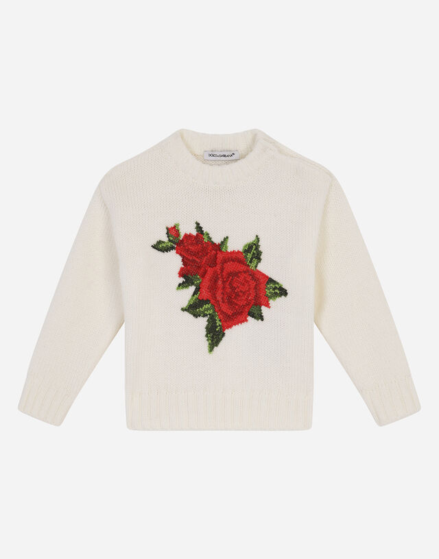 Round-neck knit pullover with crochet rose patch in White