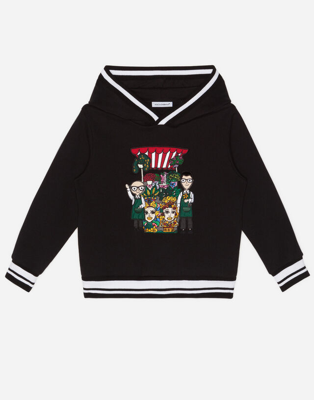 Jersey hoodie with DG Family florists in Black