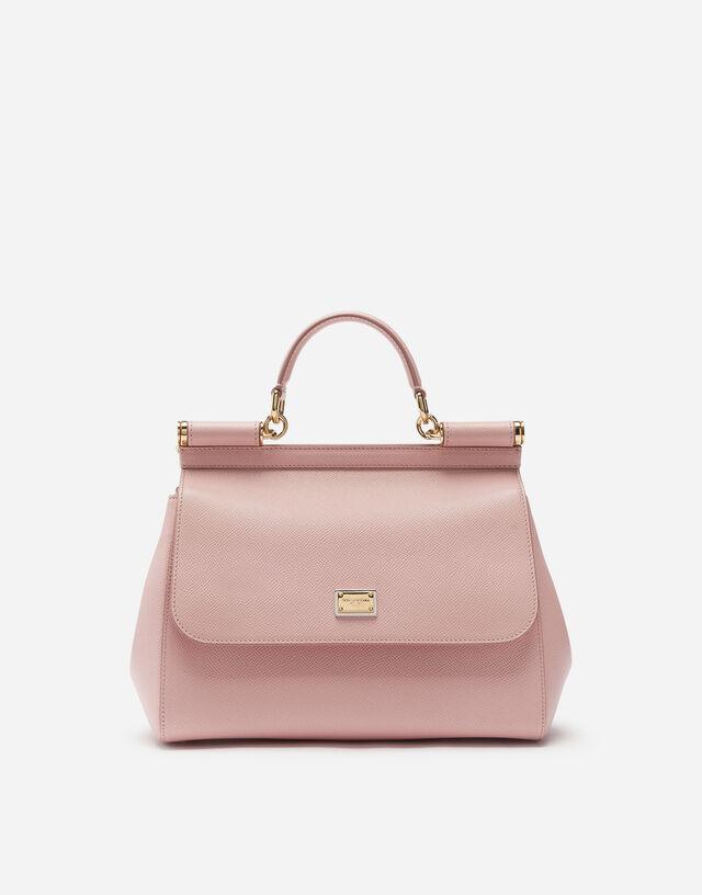 Medium Sicily handbag in dauphine leather in PINK
