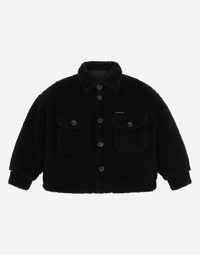 Teddy jacket with patch pockets in Blue