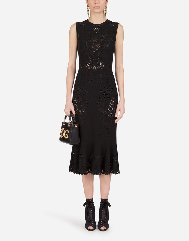 Sleeveless cady calf-length dress with intaglio detailing in BLACK