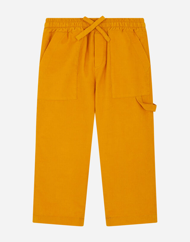 Stretch corduroy worker's pants in Yellow