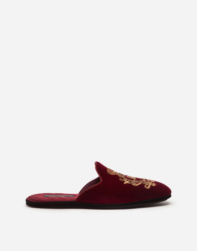 Velvet slippers with coat of arms embroidery in BORDEAUX