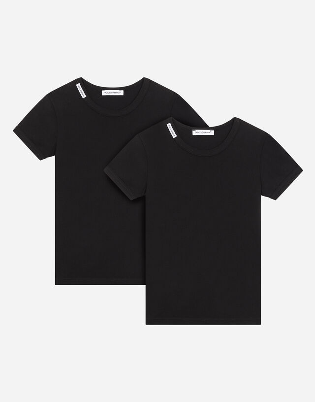 Short-sleeved jersey T-shirt two-pack in Black