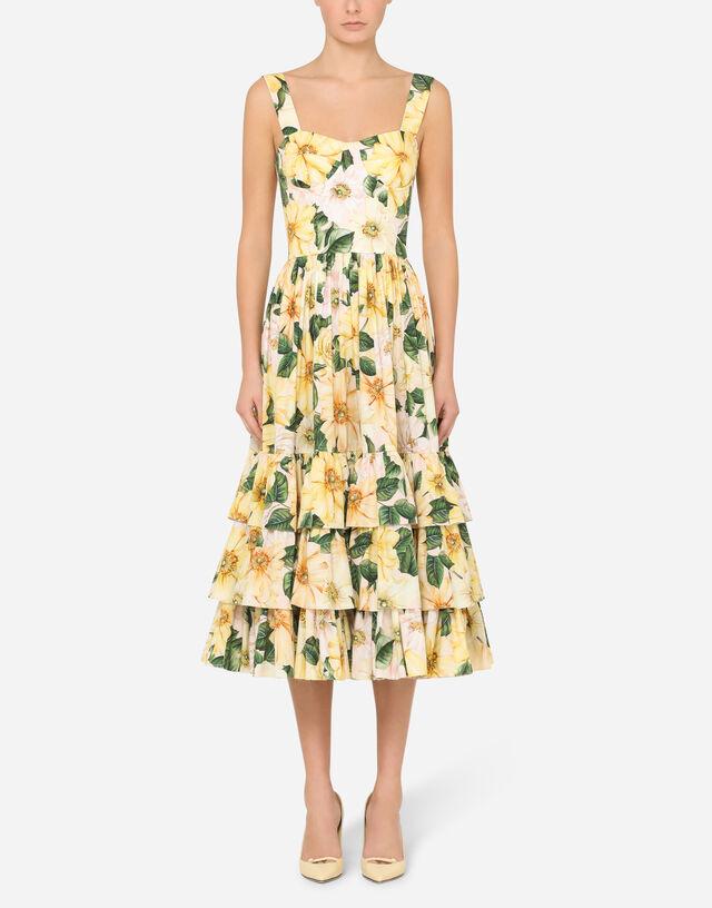 Camellia-print poplin midi dress in FLORAL PRINT