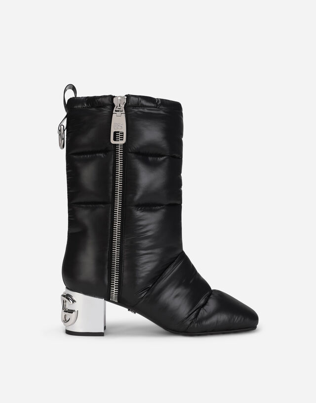 Quilted nylon ankle boots with DG Karol heel in Black