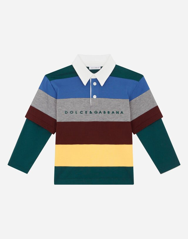 Jersey patchwork polo-shirt with logo embroidery in Multicolor