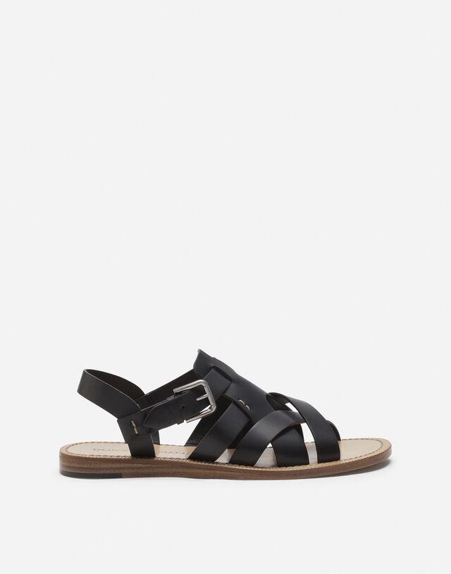 Calfskin sandals in BLACK
