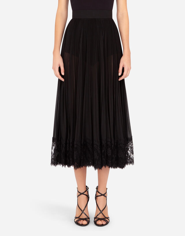 Longuette skirt in jersey with draping in BLACK