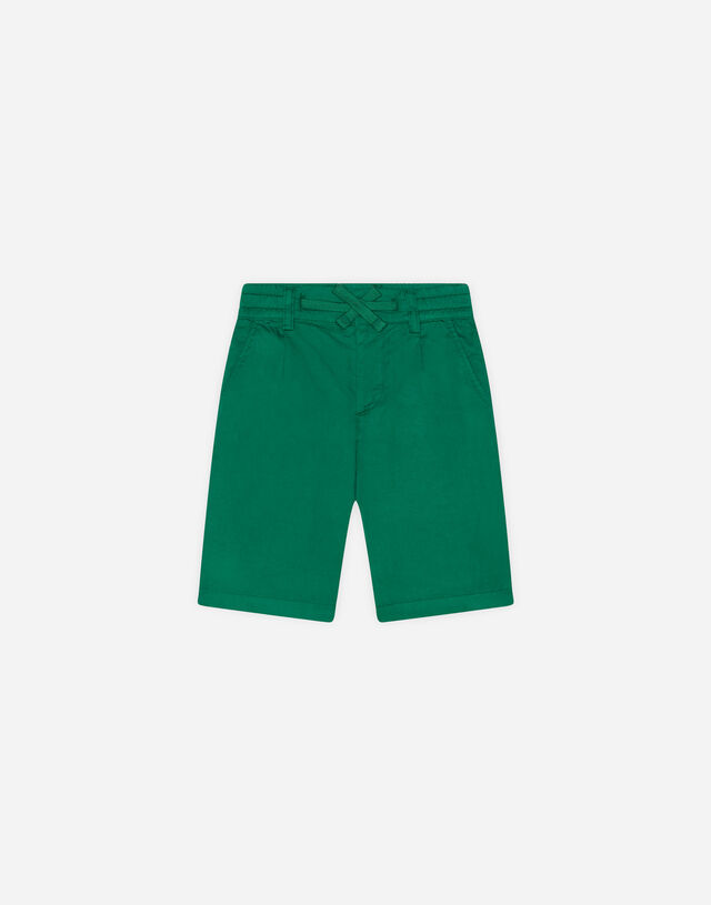 Poplin bermuda shorts with embroidered logo in Green